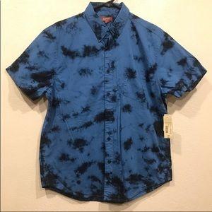 Blue and Black Tie Dye Camp Shirt